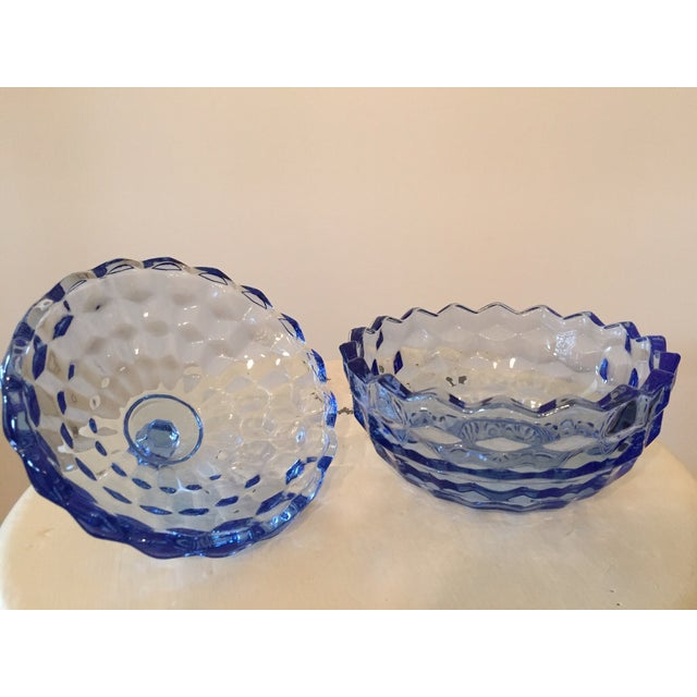 Vintage Blue Glass Lidded Candy Dish - Image 3 of 3
