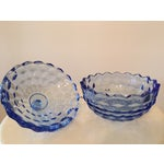 Image of Vintage Blue Glass Lidded Candy Dish