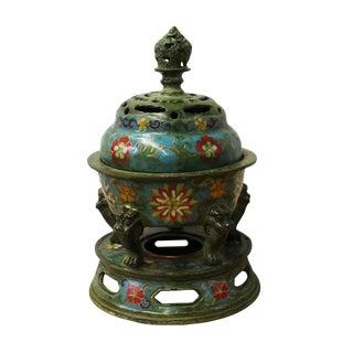 Chinese Blue Metal & Enamel Cloisonne Incense Burner