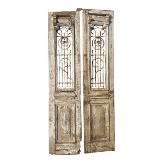 Antique Architectural and Wrought Iron Grate Doors - A Pair