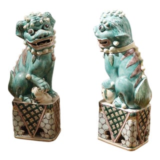 Pale Aqua Glazed Chinese Porcelain Foo Dogs - A Pair