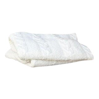 White Chunky Cable Up-Cycled Cotton Knit Throw