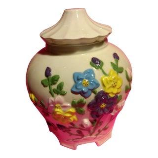 1977 Vintage Americana White Embossed Floral Bisquit Jar
