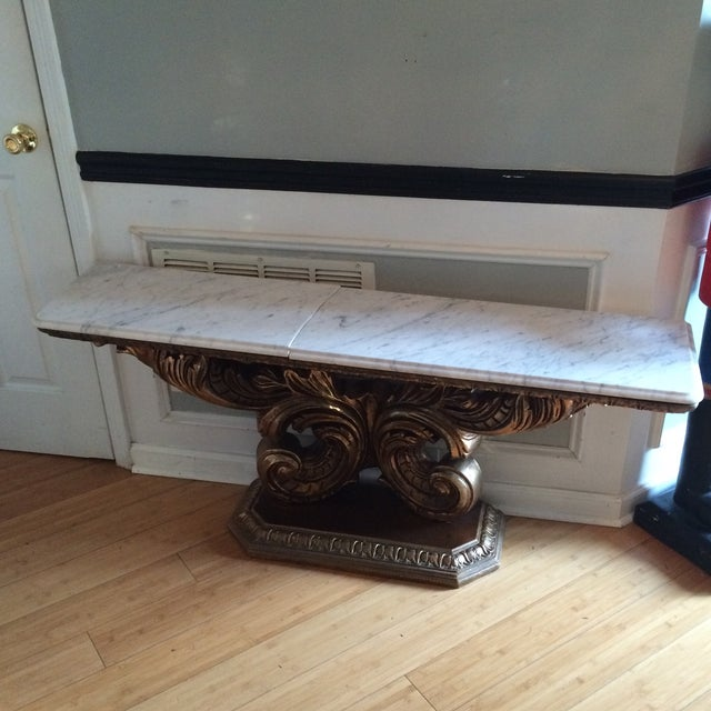 Marble Pedestal Console Table - Image 2 of 5