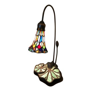 Art Nouveau Slag Glass Lily Table Lamp