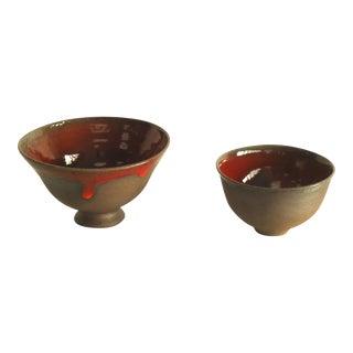Oscar Bucher Mid-Century Studio Pottery Bowls - A Pair