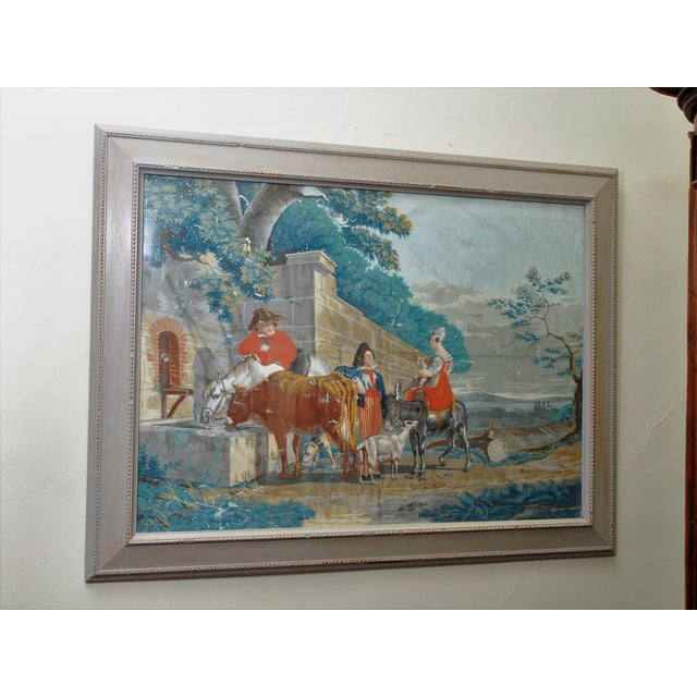 """Large Early 19th c. Gouache Painting, """"By the Water Trough"""" - Image 2 of 8"""