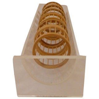 Bamboo & Lucite Napkin Ring Holder