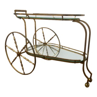 Vintage Solid Brass Bar Cart