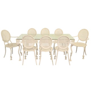 Iron Dining Table with Eight Heavy-Gauge Iron Rope and Tassel Chairs