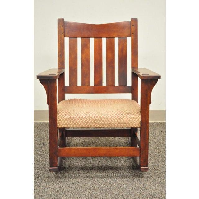 Antique Solid Maple Mission Arts & Crafts Rocker Rocking Chair Stickley Era - Image 2 of 10