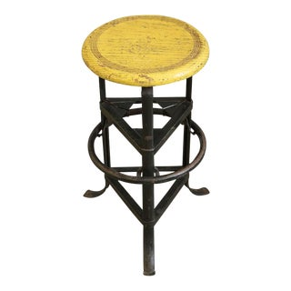 American Factory Stool with Yellow Seat