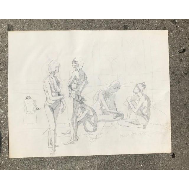 Original Midcentury California Bikini Sketch - Image 2 of 5