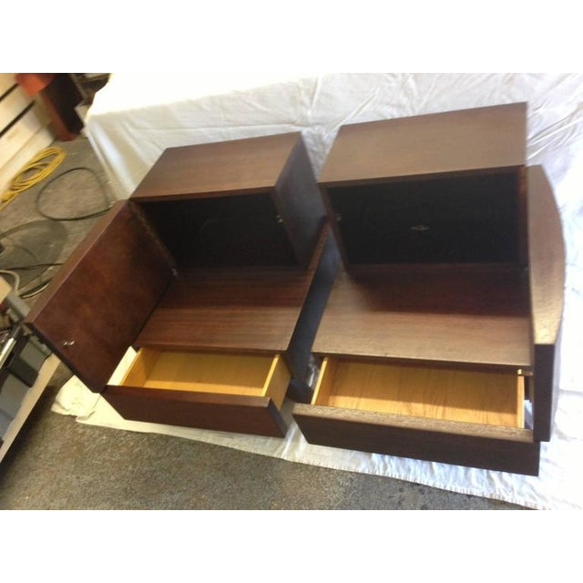 Image of Mid-Century Wooden Bedside / End Tables - A Pair
