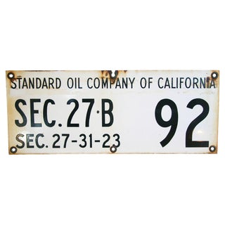 Heavy Standard Oil of California Porcelain Sign