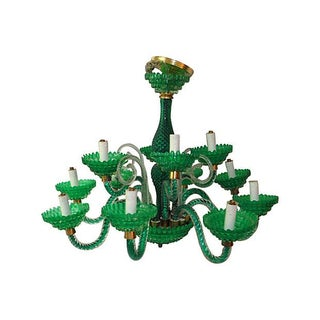 Emerald Green Murano 12-Light Chandelier