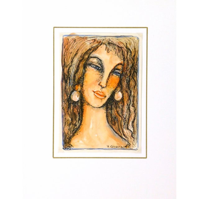 Vintage Female Portrait Watercolor Painting - Image 5 of 5