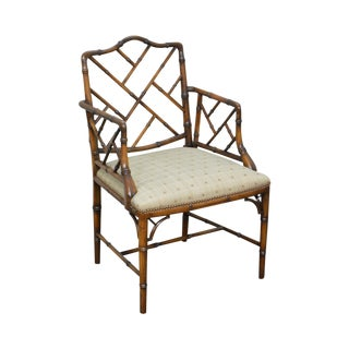 Quality Chinese Chippendale Style Faux Bamboo Arm Chair