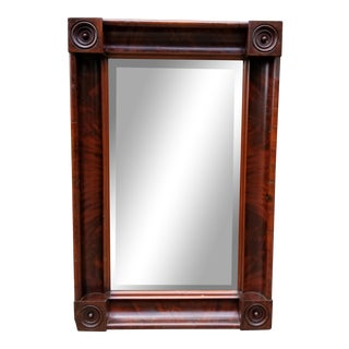 Antique Federal Style Rectangular Mahogany Wood Mirror