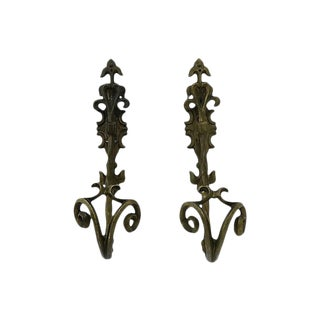 Antique French Bronze Wall Hooks - Pair