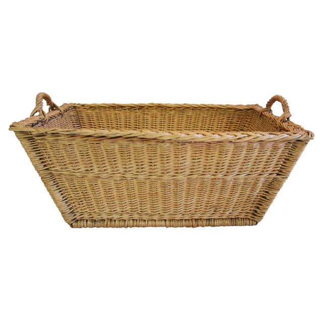 french woven willow market basket w handles chairish. Black Bedroom Furniture Sets. Home Design Ideas