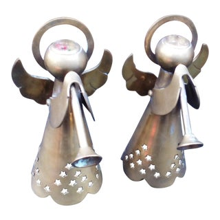 Brass Angel Candle Holders - A Pair