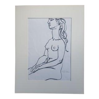 Edward Goldman Abstract Nude Print