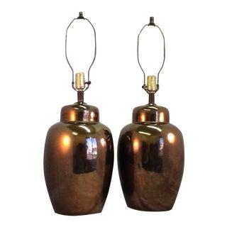 Mid Century Ceramic Bronze Crackle Urn Lamps - a Pair