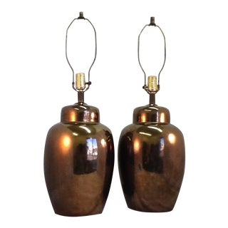 Mid Century Ceramic Bronze Crackle Urn Lamps - a Pair