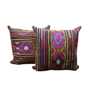 Large Purple Kilim Pillows - A Pair