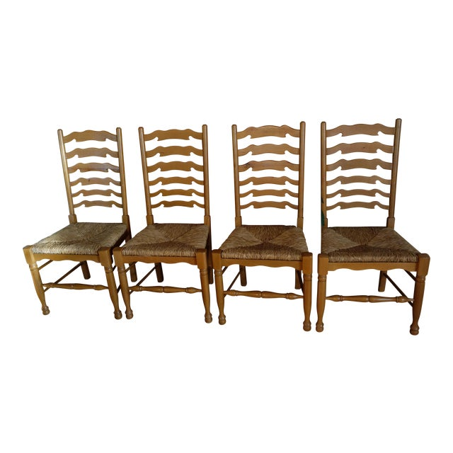 Ladderback Pine Chairs - Set of 4 - Image 1 of 8