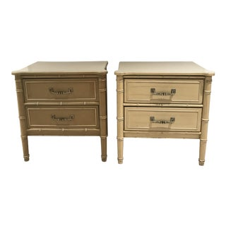 Hollywood Regency Faux Bamboo Night Stands - A Pair