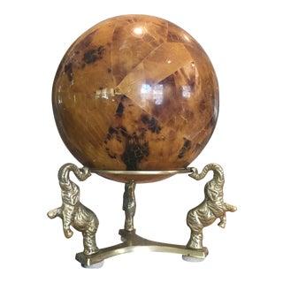 Maitland Smith Style Brass Elephants & Stone Ball Statue