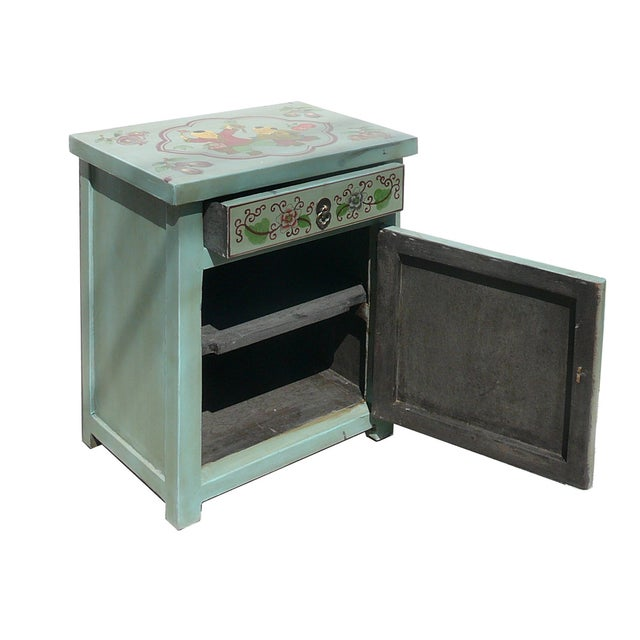 Oriental Pastel Blue Side Table/Nightstand - Image 3 of 5