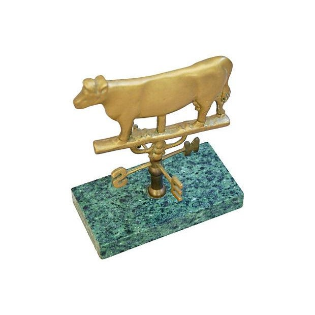 Image of Vintage Brass Cow Table-Top Weathervane