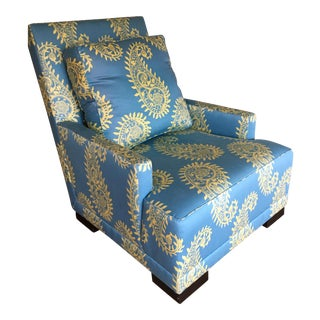 Blue Paisley Silk Upholstered Club Chair