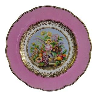 A Pair of English Porcelain Pink-Ground Botanical Plates
