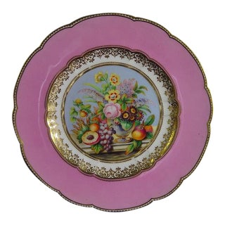 A Pair of English Porcelain Pink-Ground Botanical Plates