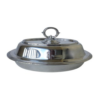 Silver Plate Engraved Lidded Covered Serving Dish