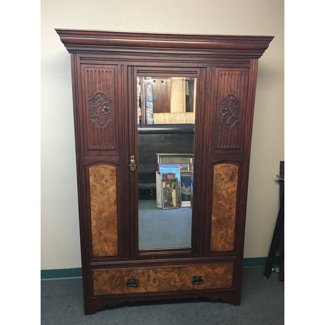 Image of Vintage Armoire With Mirrored Door