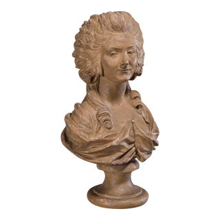 Antique French Terracotta Plaster Bust of Marie Antoinette circa 1875