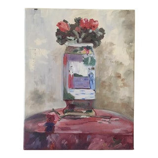 Still Life of Roses in Chinese Vase