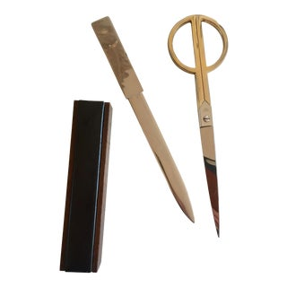 Brass Plated Scissors & Letter Opener Desk Set