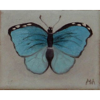 Turquoise Butterfly Oil Painting