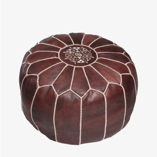 Image of Moroccan Leather Pouf Brown