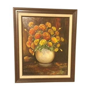 Vintage Chrysanthemum Still Life Oil Painting
