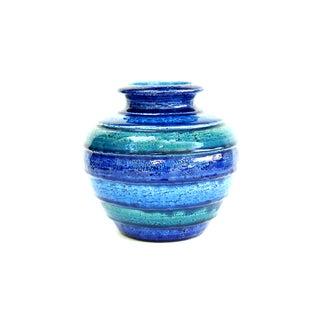Aldo Londi Round Bitossi Blue Striped Vase