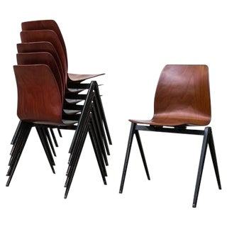 Jean Prouve Inspired Industrial Stacking Chairs - Set of 6