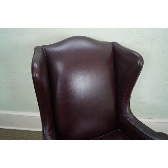 Oxblood Leather Wing Chairs - A Pair - Image 5 of 10