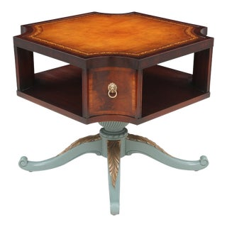 Revolving Mahogany Leather Top Bibliotheque
